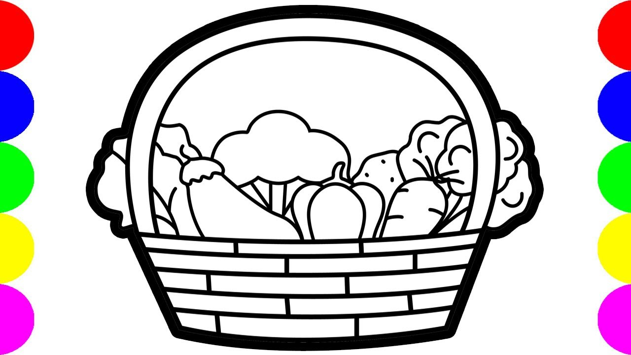 Vegetable Basket Drawing Pictures Easy Coloring Video Art ...