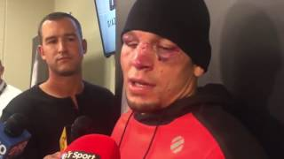 Nate Diaz smoking weed during UFC 202 Post Fight against Conor McGregor