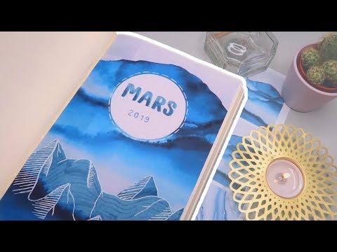 Bullet Journal MARS 2019! Blue mountain theme   Mina Jacobsen (A)