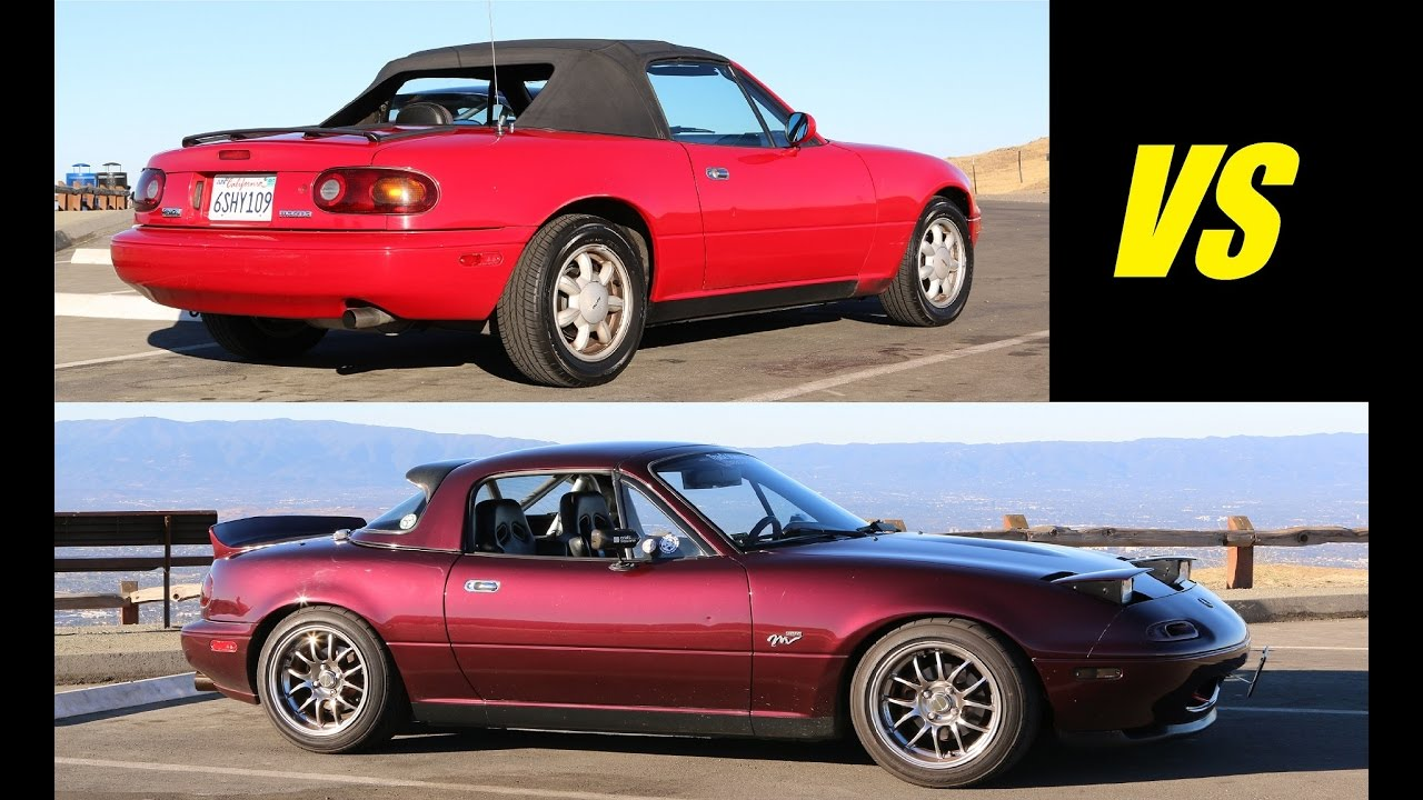 Stock 1991 vs modified 1995 mazda mx 5 miata head to head review youtube