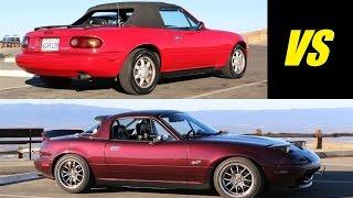 Stock 1991 vs Modified 1995 Mazda MX-5 Miata - Head to Head Review!