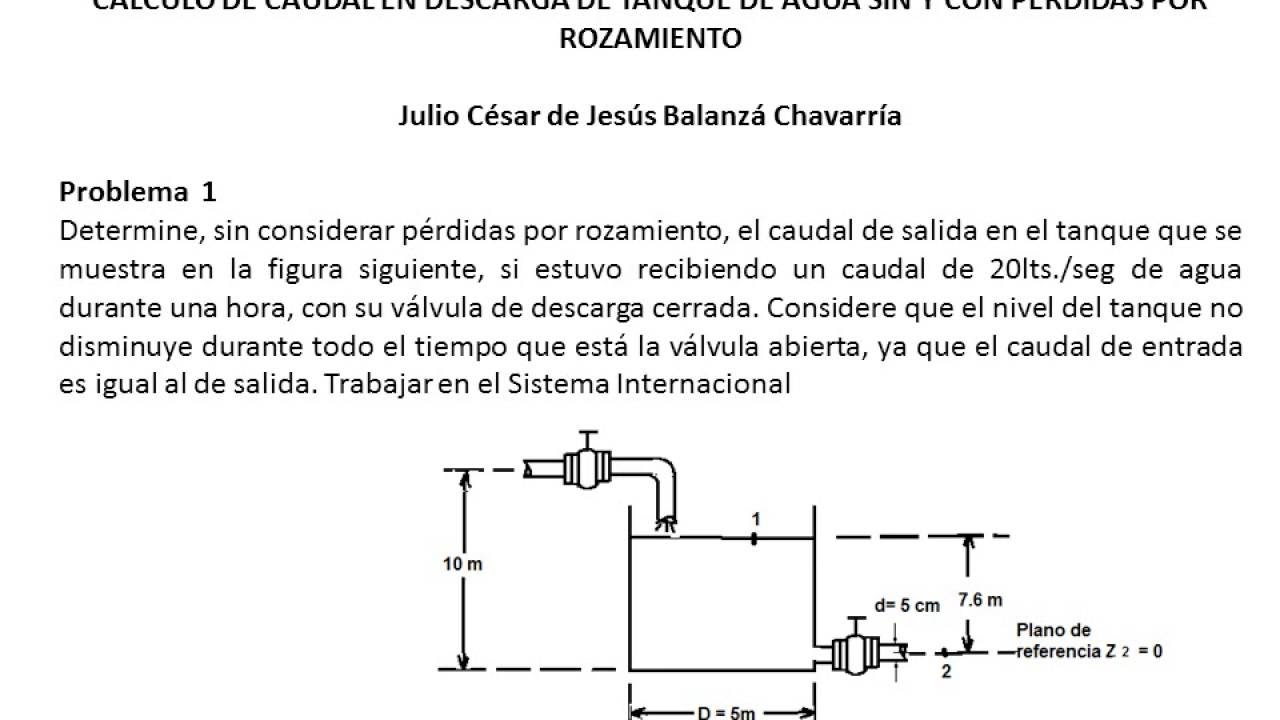 C lculo caudal en descarga tanque de almacenamiento de for Diferencia entre tanque y estanque