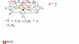 1 Kirchoffs Law example (3 loops 1 node)  (part 1 of 4)