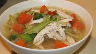 Poached Chicken with Vegetables & Noodles