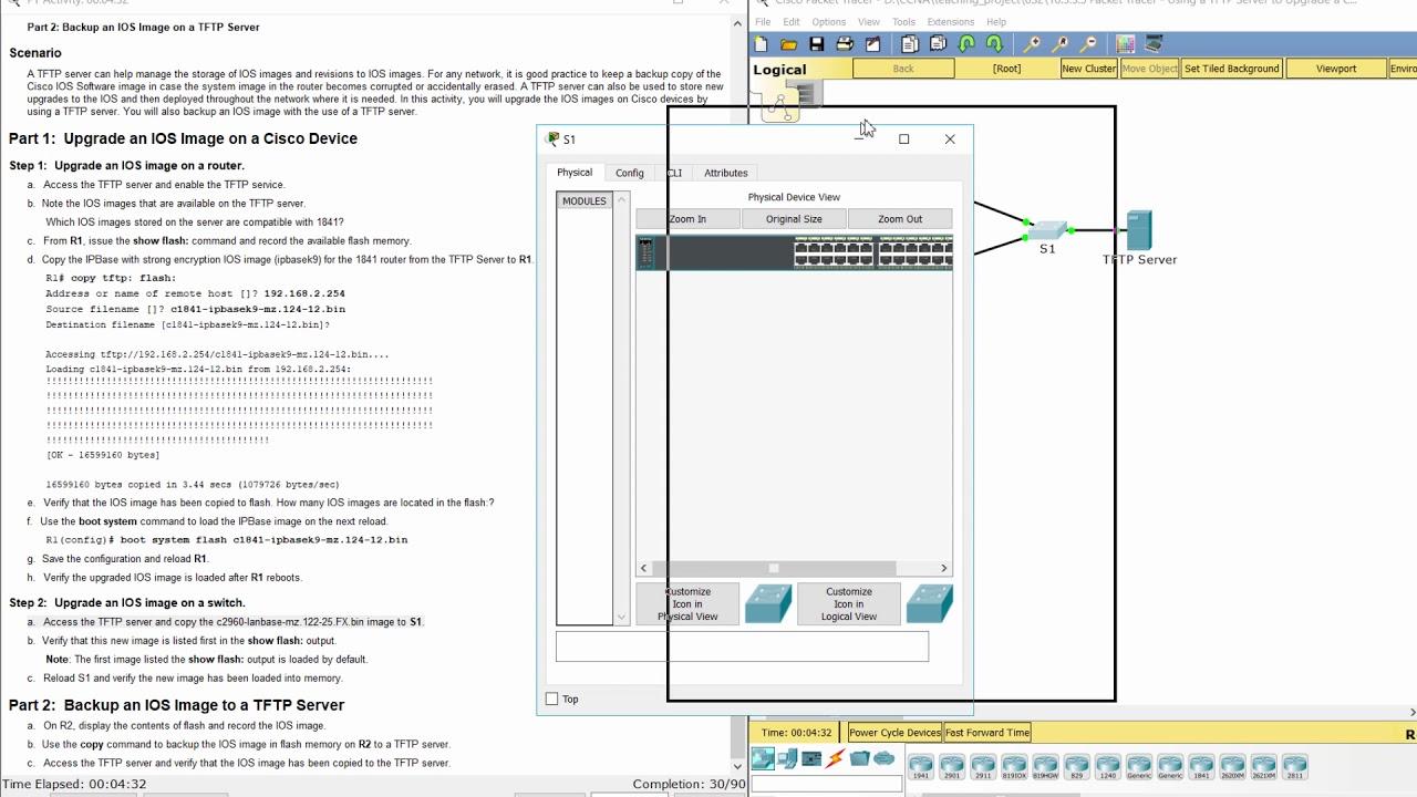 [CCNA v6] Packet Tracer 10 3 3 5 Using a TFTP Server to Upgrade a Cisco IOS  Image