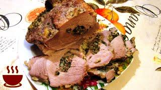 Свинина в духовке в фольге. На ПРАЗДНИЧНЫЙ СТОЛ фаршированная брынзой и шпинатом