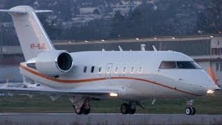 Bombardier Challenger 604 VP-BJE Take Off at Bern Airport