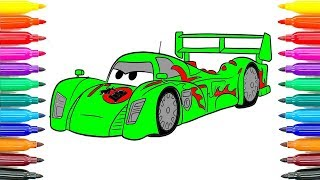 How To Paint Draw Disney Pixar CARS 2 Shu Todoroki Coloring Pages For Kids Learn Funny Coloring Book