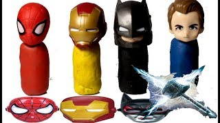 Learn Colors With Superheros and Play Doh Toys For Kids