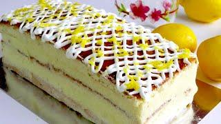 Торт Нежнее не Бывает Домашний быстрый торт к чаю Необыкновенный Яблочно Лимонный заварной Крем
