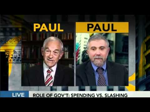 Ron Paul vs. Paul Krugman on The Fed & interview Bloomberg T