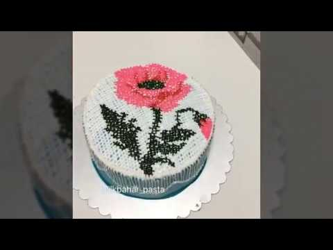 Kanavice Desenli Pasta | Cross Stitch Cake Design 🌷🎂