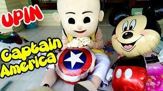 Tips Upin Meniup Balon Karakter Captain America & Doraemon | Jangan Buang Balon Terbang Yang Kempes