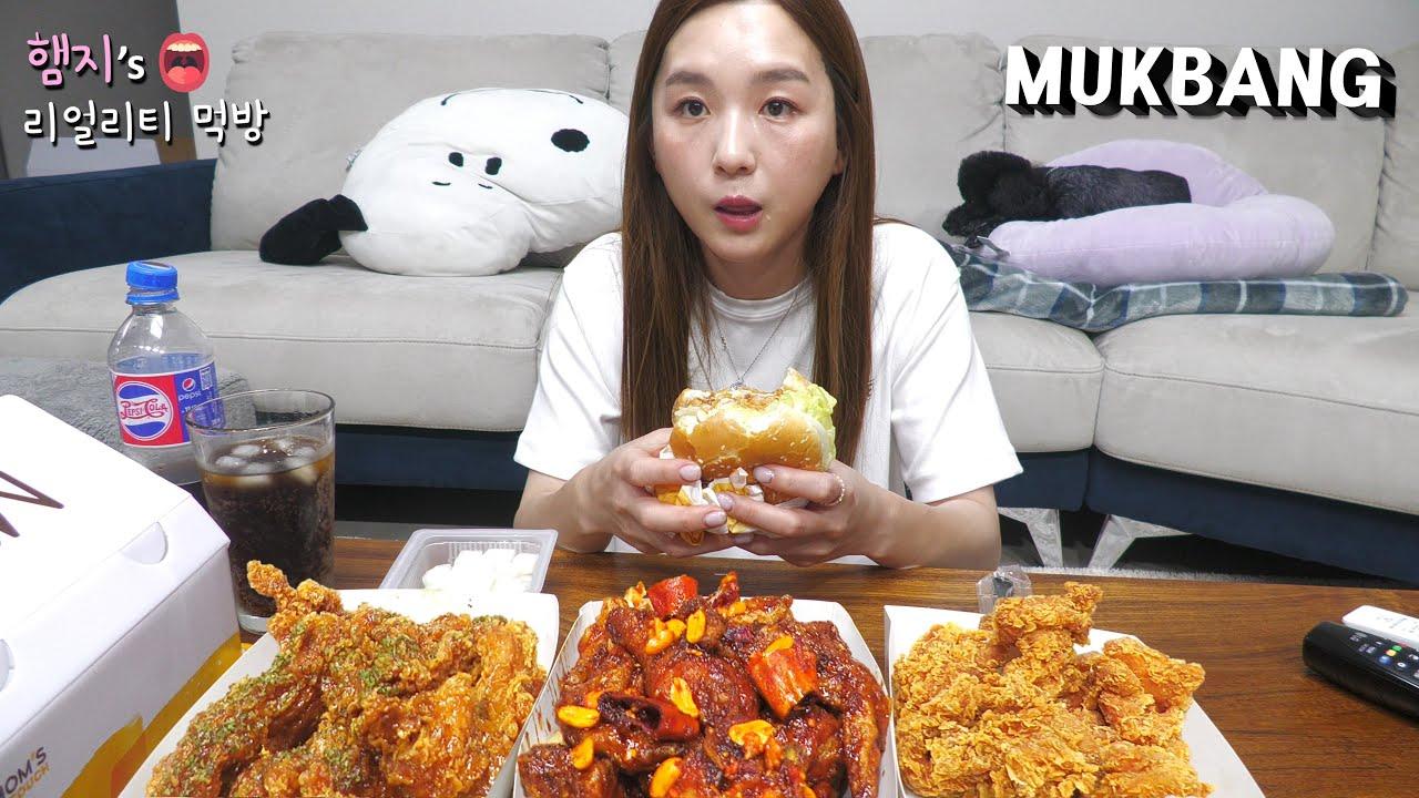 리얼먹방:) 싸이버거 & 싸이순살 후라이드,간장마늘치킨 & 블랙쏘이치킨 ㅣChicken burger & ChickenㅣREAL SOUNDㅣASMR MUKBANGㅣ