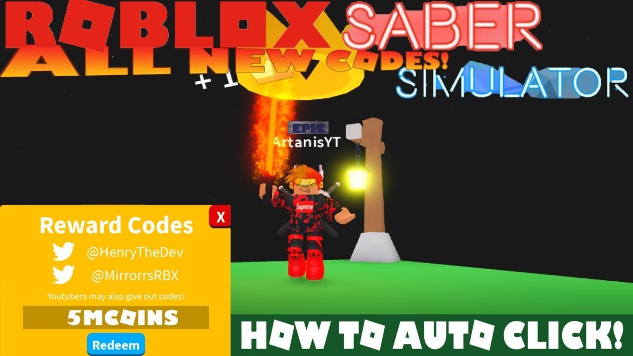 Saber Simulatorall New Codes How To Auto Click Not A Hack Roblox - clicker series roblox hack
