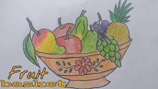 How to draw fruits basket | fruit basket drawing  |  fruit basket for kids