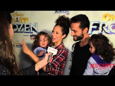 Sherri Saum & Kamar de los Reyes & Twins at DisneyOnIce's Frozen Blue Carpet Premiere FrozenOnIce