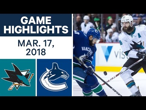 NHL Game Highlights | Sharks vs. Canucks - Mar. 17, 2018