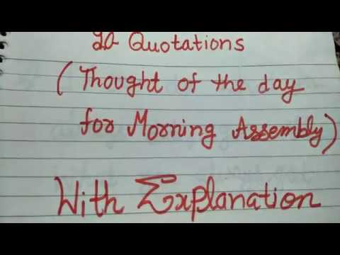 10 quotations or thought of the days with their meaning for morning assembly in excellent channel