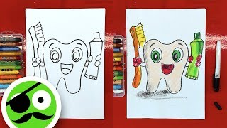 How to Draw Tooth, Toothpaste, Toothbrush