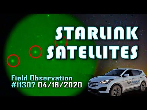 STARLINK Satellite Constellation on Night Vision (36 Total) (04/16/2020)