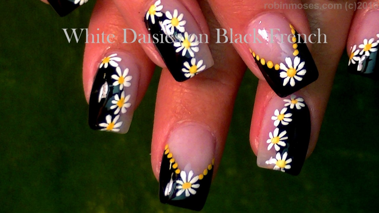 Daisy Nails Black And White Dotticure Nail Art Design Tutorial You