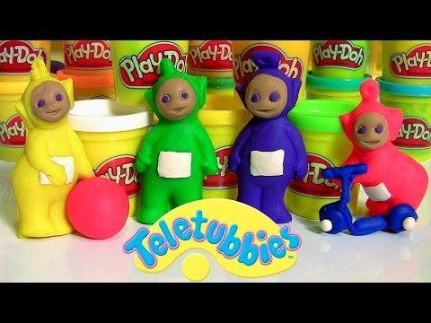 Play Doh Teletubbies Playset Mold Tinky Winky Dipsy Laa-Laa PO using playdough
