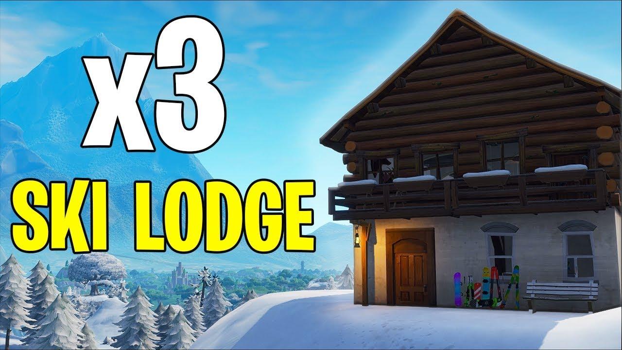 SEARCH BETWEEN 3 SKI LODGES LOCATION! Fortnite Ski Lodge