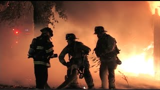 Firefighters Battle A Huge Fire In Modesto, California - RAW FOOTAGE For TV Use