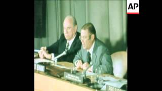 SYN 19 10 74 WORLD BANK PRESIDENT ROBERT MCNAMARA ADDRESING UN ECONOMIC AND SOCIAL COUNCIL