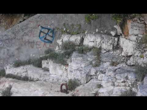 Croatia Nazi symbol on a beach in Rijeka