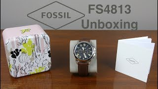 Fossil FS4813 Grant Stainless Steel Watch Unboxing