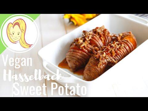 Maple Pecan Hasselback Sweet Potatoes (Vegan)