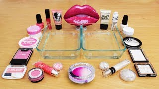Mixing Makeup Eyeshadow Into Slime! Pink vs White Special Series Part 51 Satisfying Slime Video