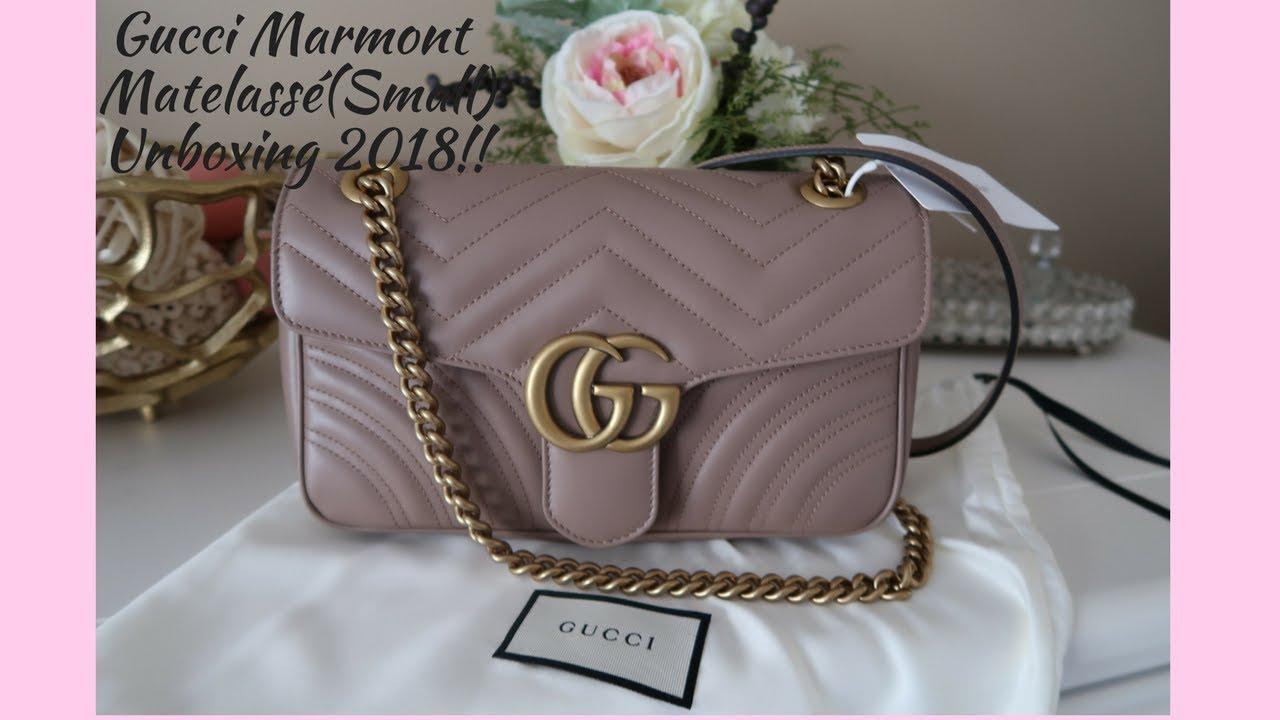 2a7eb6f56e66bc Gucci Marmont Matelassé Unboxing (Small) 2018!!! Rose LuvsLux