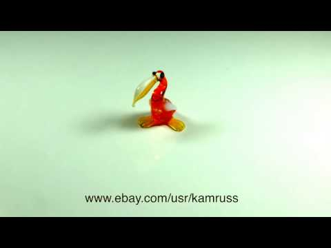 Tiny figurine orange glass Pelican. Blown Glass marine bird Miniature. Handmade Murano Art OOAK