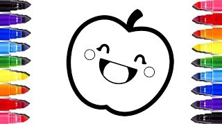 Coloring pages Rainbow Apple | So cute how to draw | Coloriage enfant