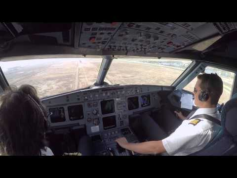 Cockpit view Landing Baghdad ORBI on rwy 33R