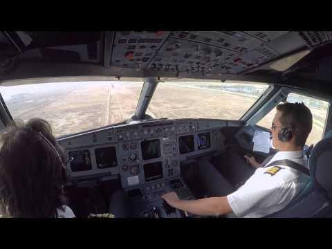 Cockpit view Landing Baghdad ORBI on rwy 33R