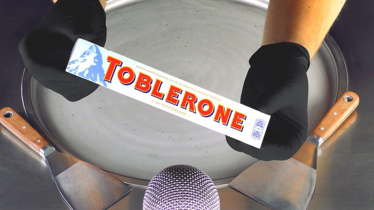 ASMR - TOBLERONE white Chocolate Ice Cream Rolls | tapping crackling crushing & scratching Tingles