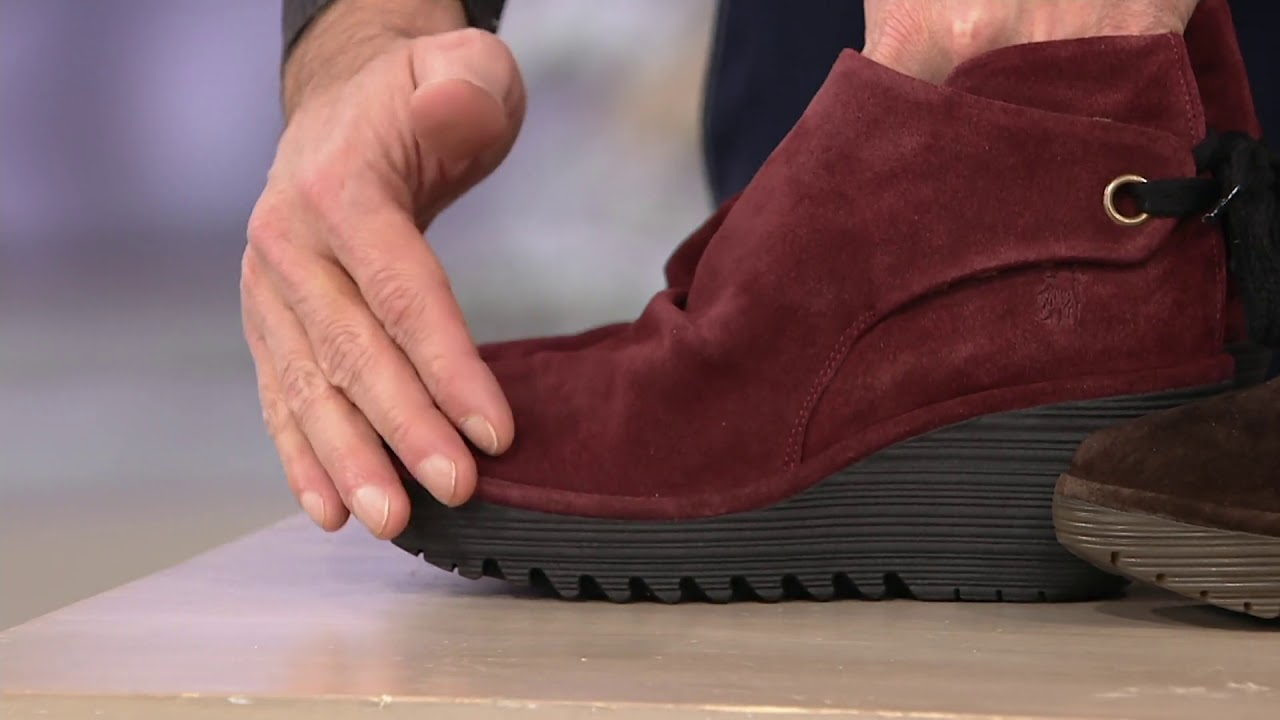 7d27b34aa4df FLY London Suede Ruched Ankle Boots with Tie Detail - Yebi on QVC ...