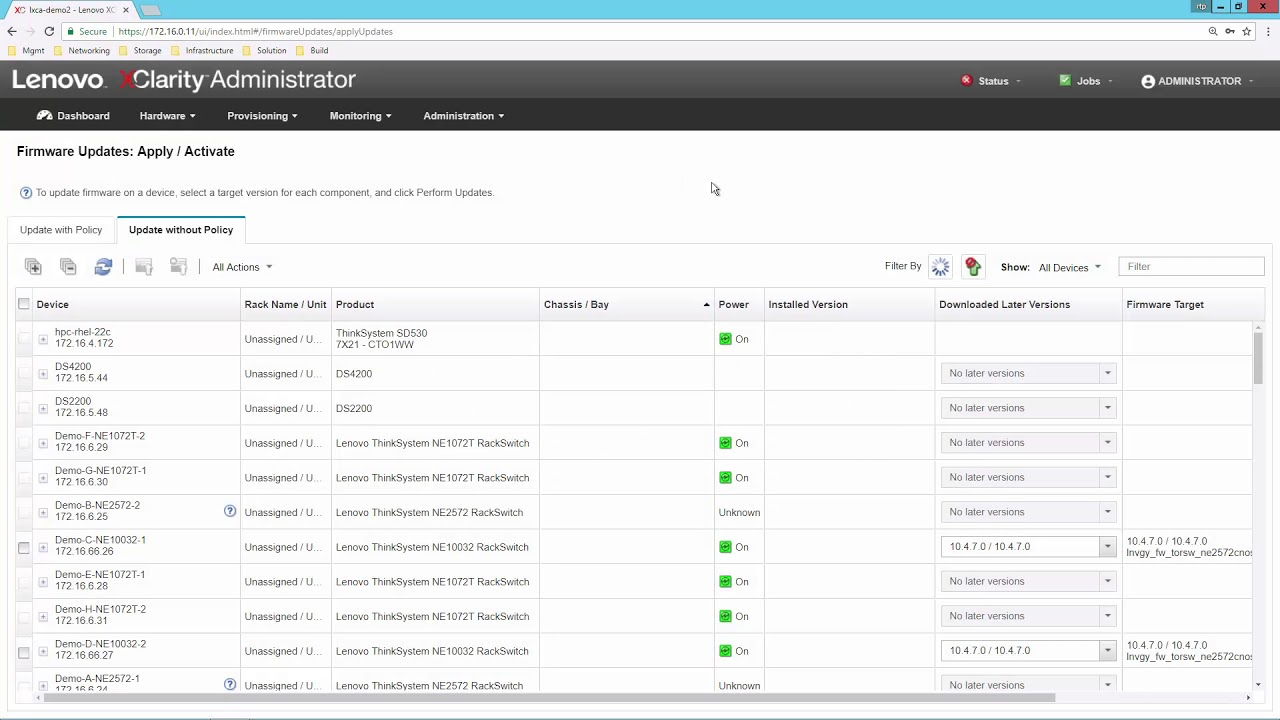 Lenovo XClarity Administrator - Provisioning Firmware Security Updates