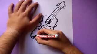 Como dibujar un violin paso a paso | How to draw a violin