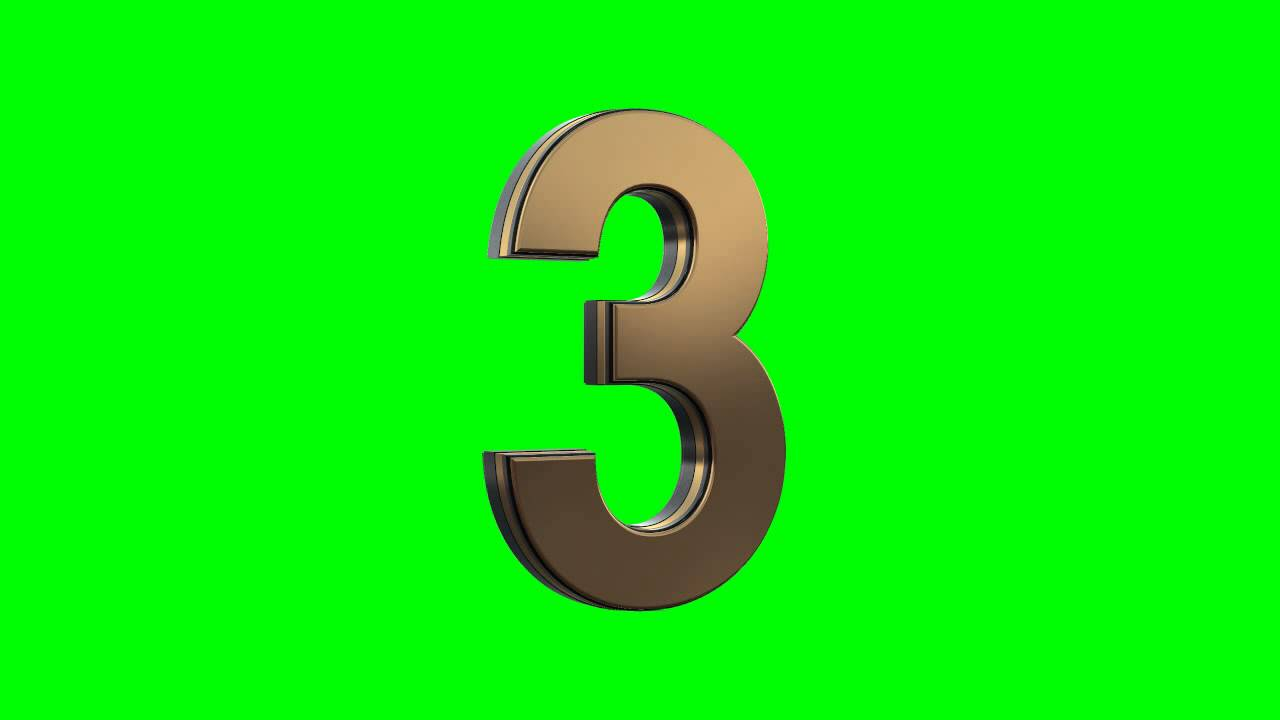 Gold 3d Numbers Countdown In Green Screen Free Stock
