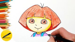 How to Draw Dora The Explorer  Step by Step Easy and Coloring with Colored Pencil for Kids