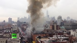 RAW: Fire rages in New York