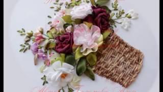 Вышивка лентами корзины How to embroider ribbons basket 如何绣带篮子里。