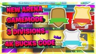 NEW ARENA GAMEMODE ⚔️ | 3 DIVISIONS 🔥 | 4K BUCKS CODE 💰 | ROBLOX ISLAND ROYALE 🏝️