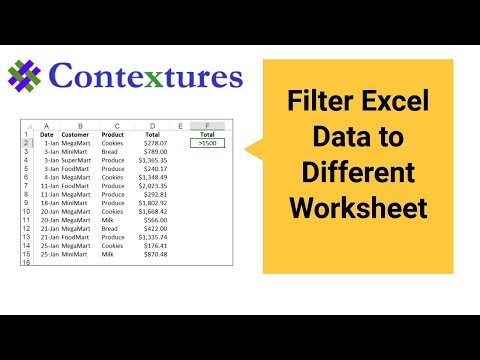 Filter Excel Data to Different Worksheet - YouTube