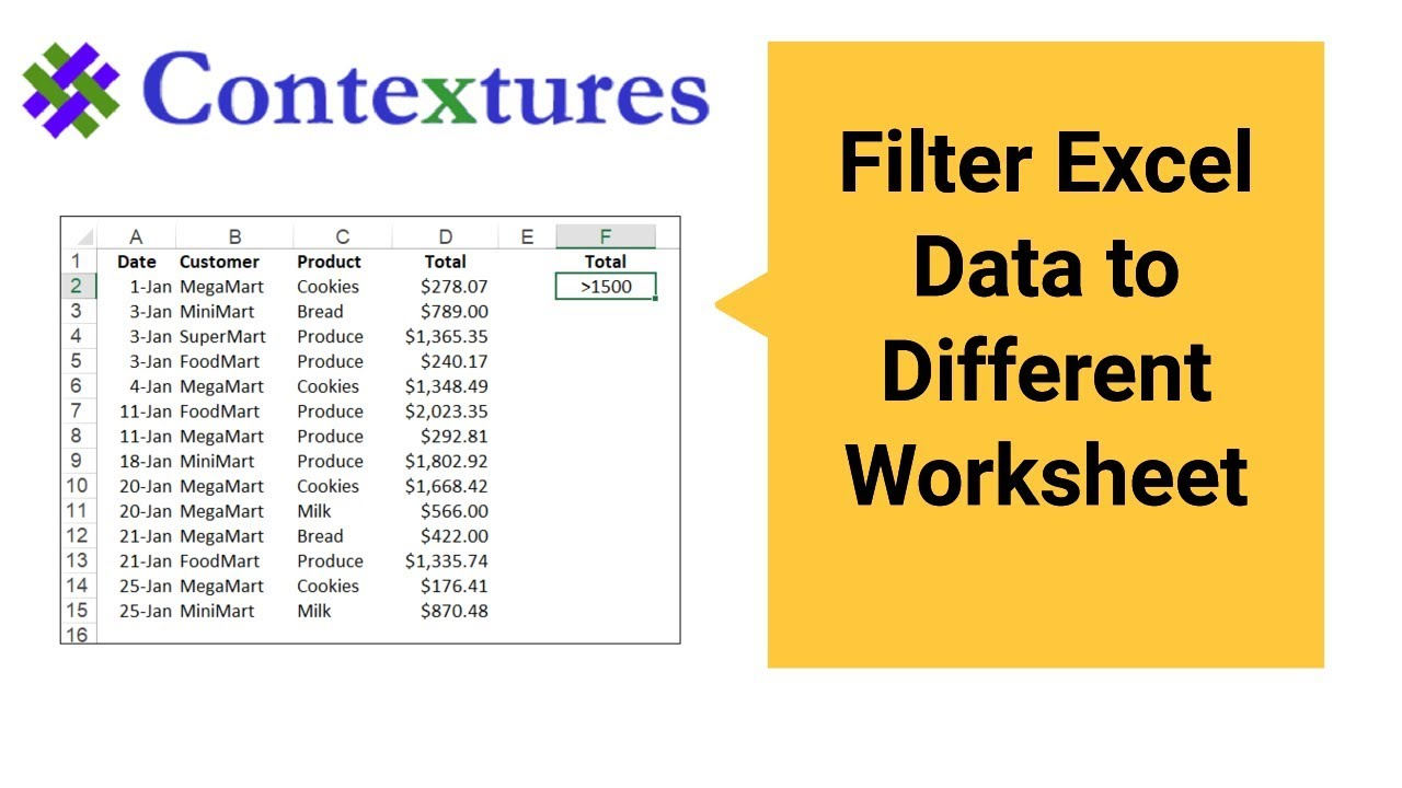 Filter Excel Data to Different Worksheet